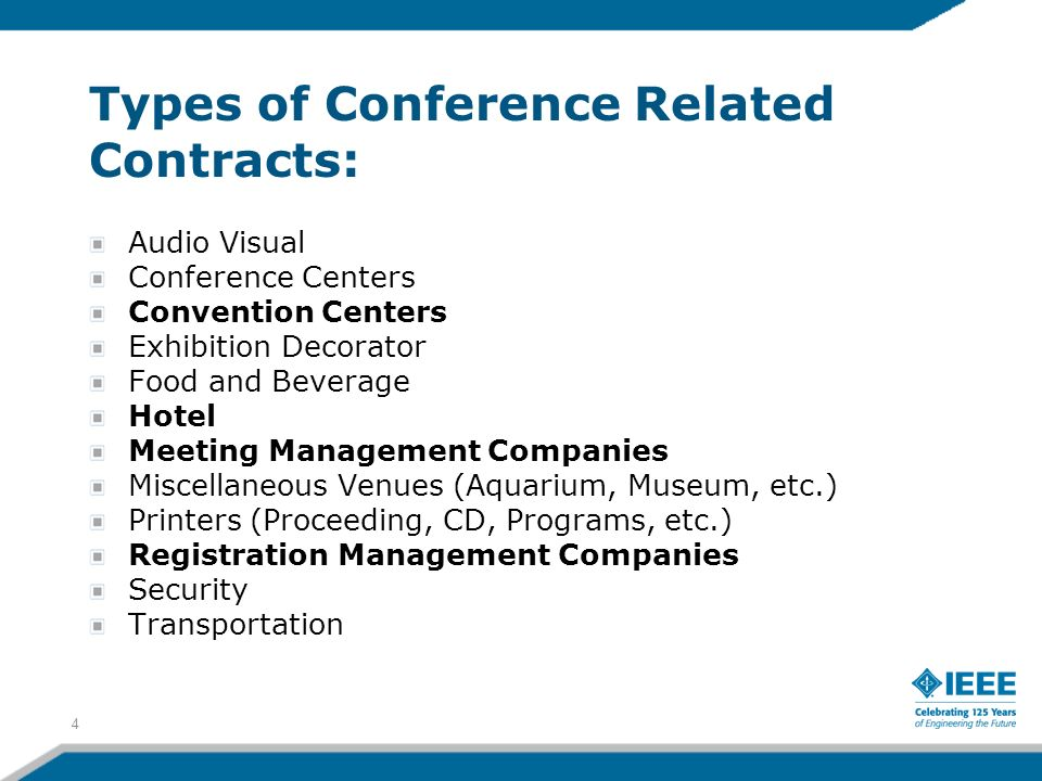 Types of Conference Related Contracts: