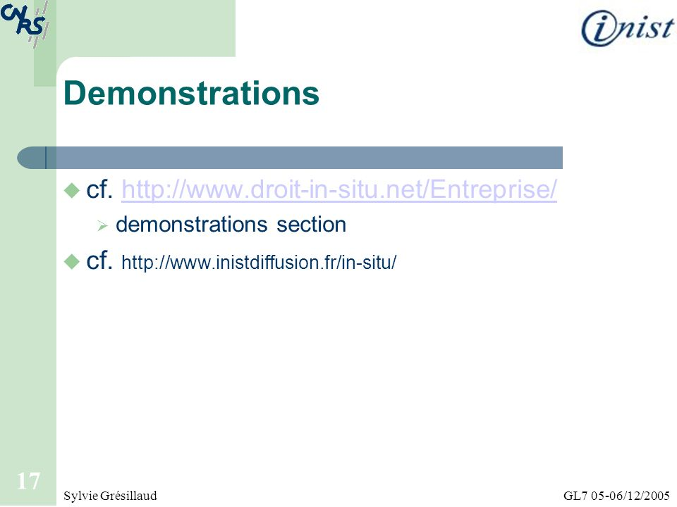 Demonstrations cf. http://www.droit-in-situ.net/Entreprise/