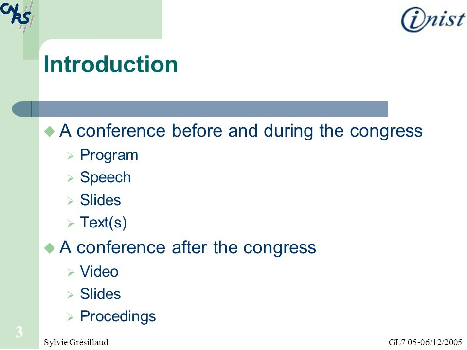 Introduction A conference before and during the congress