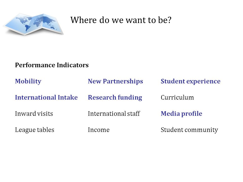 Where do we want to be Performance Indicators
