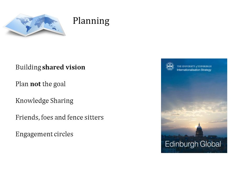 Planning Building shared vision Plan not the goal Knowledge Sharing