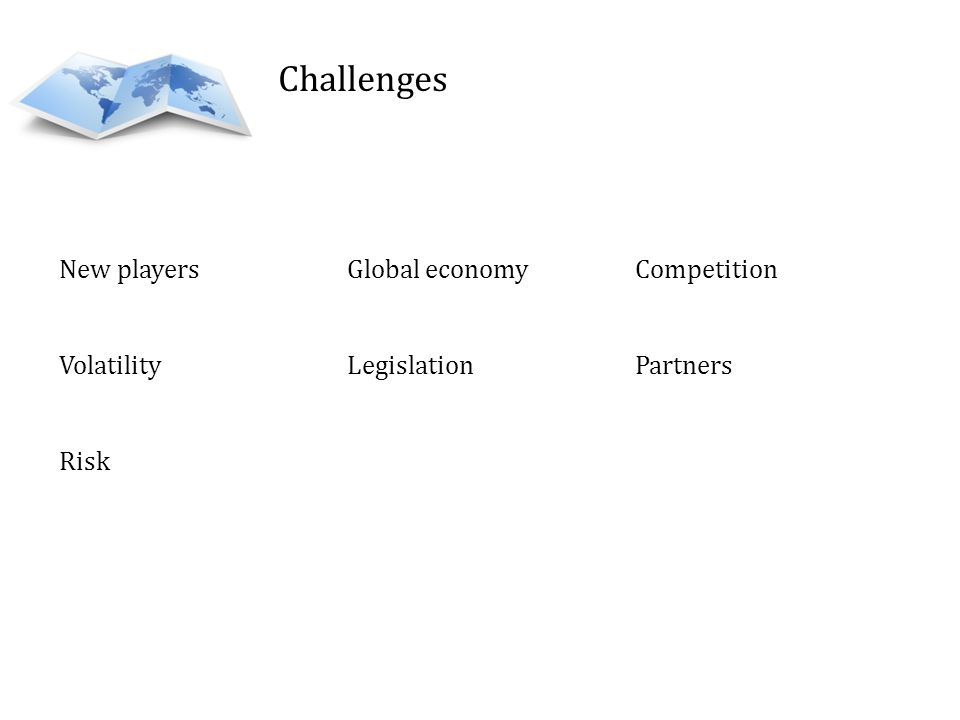 Challenges New players Global economy Competition