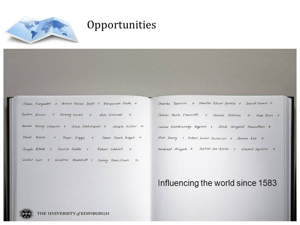 Opportunities Influencing the world since 1583