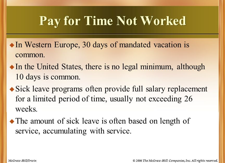 pay for time not worked If an employer closes its business on holidays and gives its employees time off from work with pay,  that employees be paid for holidays that are not worked.