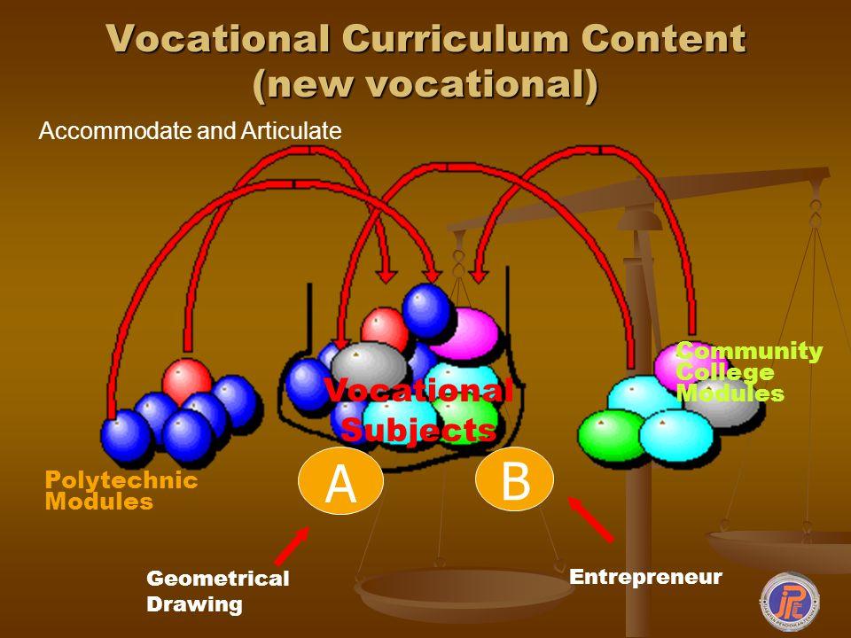 Vocational Curriculum Content (new vocational)