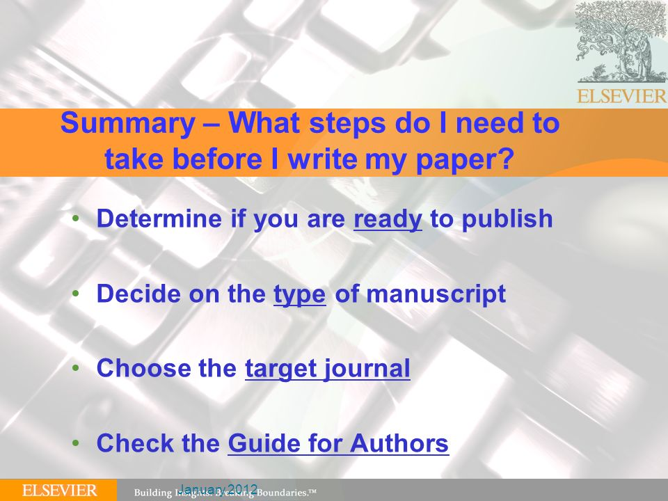 writing and publishing first quality scientific manuscripts ppt  summary what steps do i need to take before i write my paper