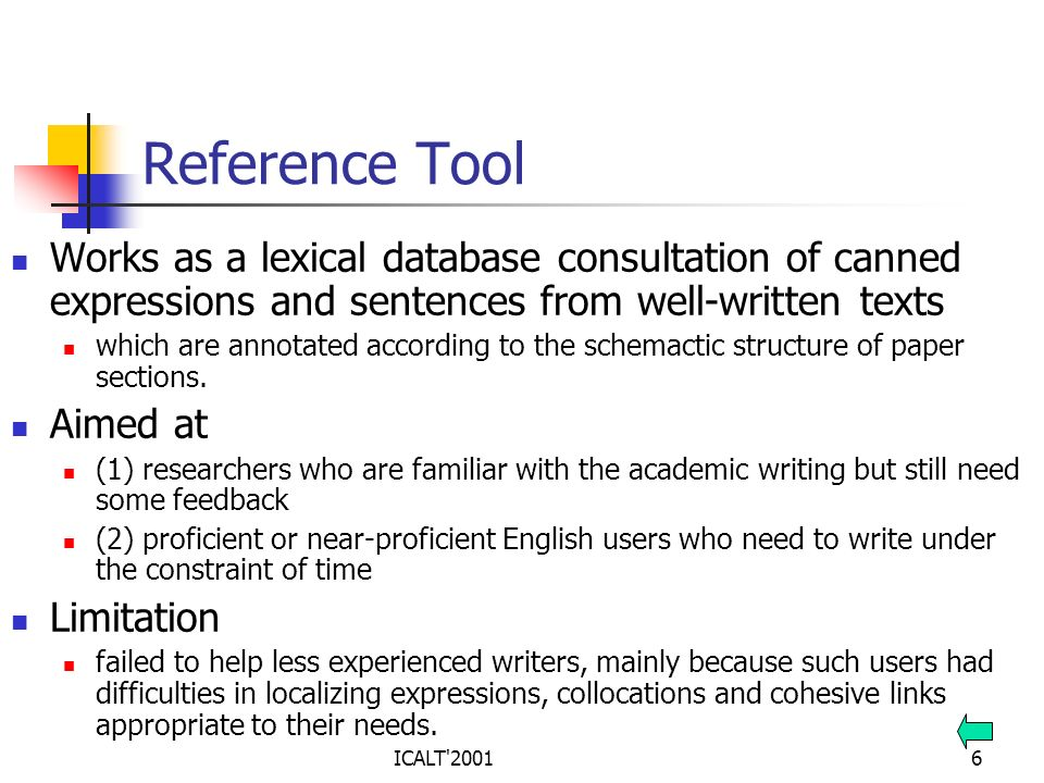 Reference Tool Works as a lexical database consultation of canned expressions and sentences from well-written texts.
