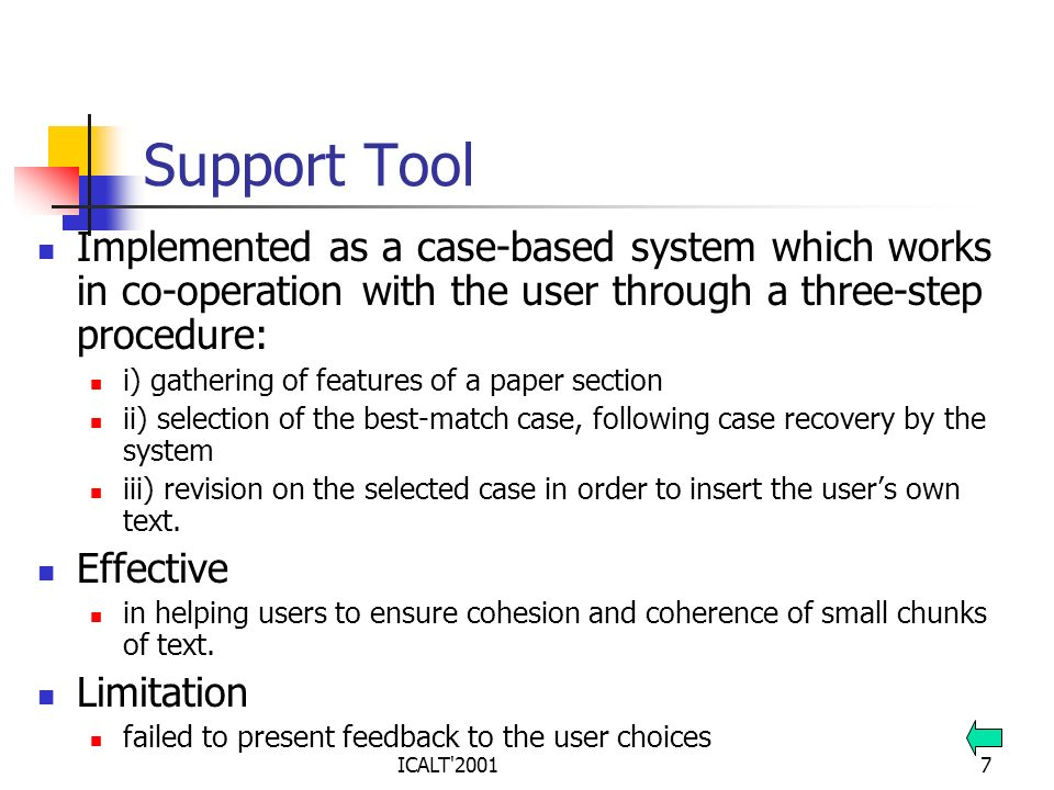 Support Tool Implemented as a case-based system which works in co-operation with the user through a three-step procedure: