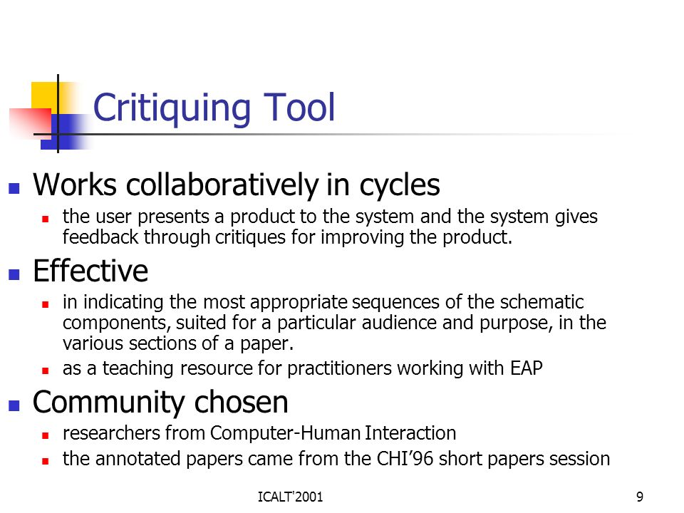 Critiquing Tool Works collaboratively in cycles Effective