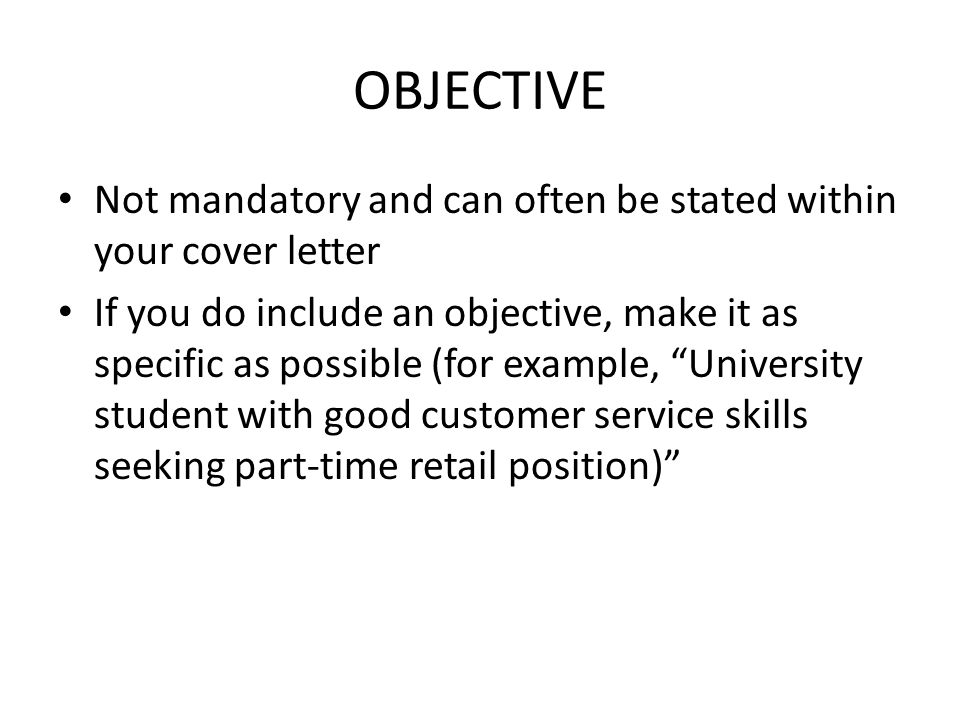 objective cover letters