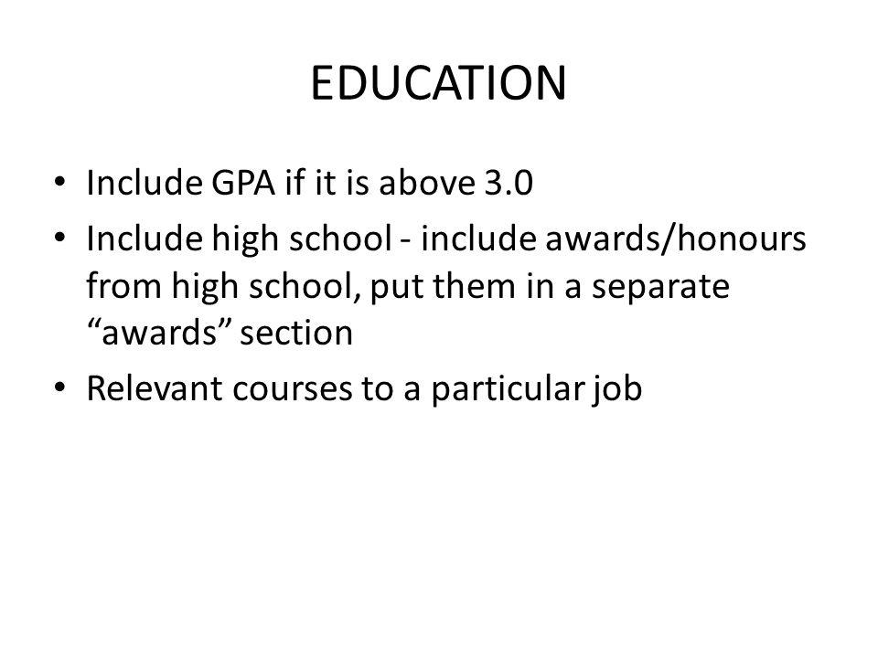 list gpa on resumes