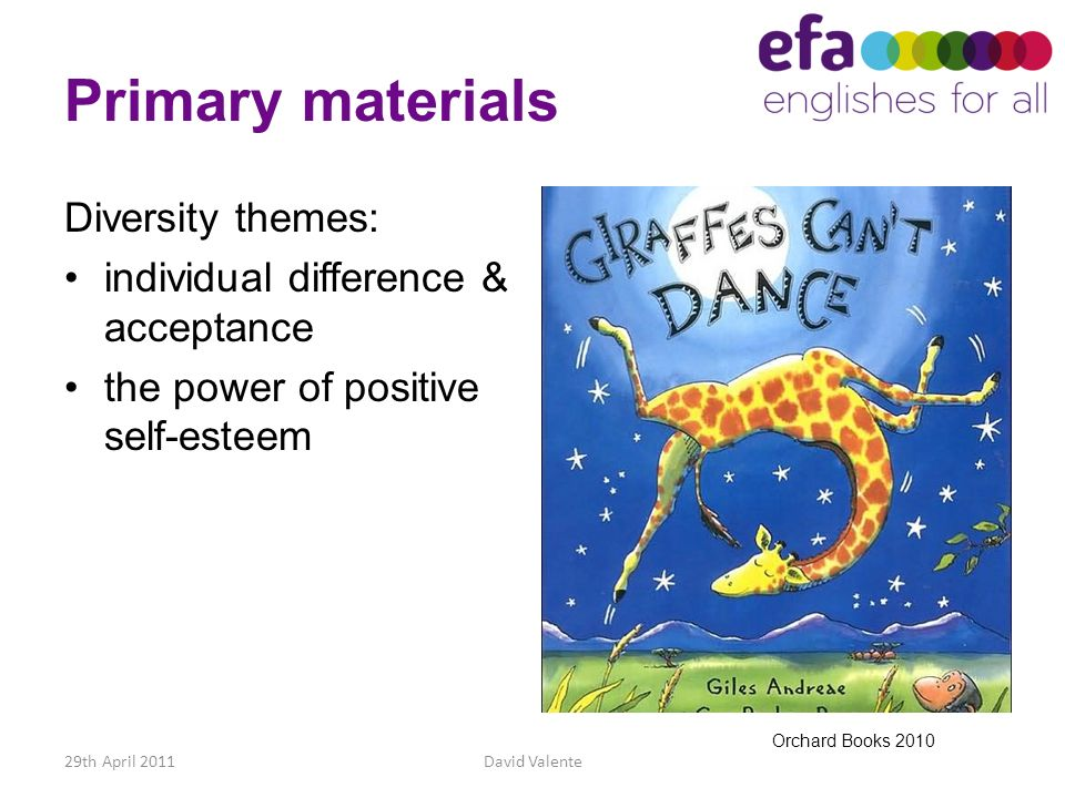 Primary materials Diversity themes: individual difference & acceptance
