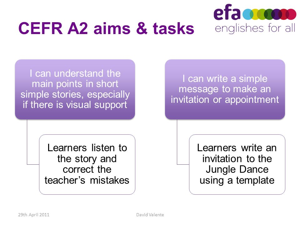 CEFR A2 aims & tasks I can understand the main points in short simple stories, especially if there is visual support.