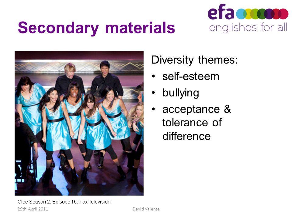 Secondary materials Diversity themes: self-esteem bullying