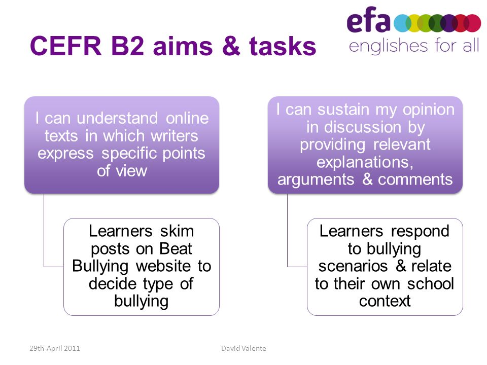 CEFR B2 aims & tasks I can understand online texts in which writers express specific points of view.