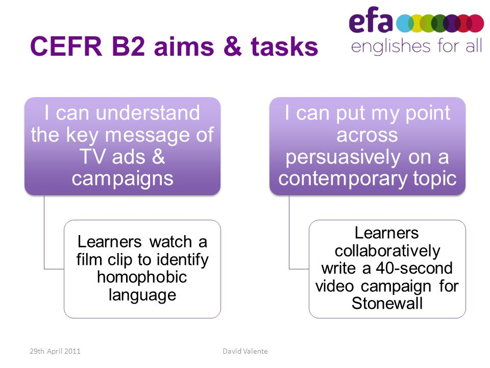 CEFR B2 aims & tasks I can understand the key message of TV ads & campaigns. Learners watch a film clip to identify homophobic language.