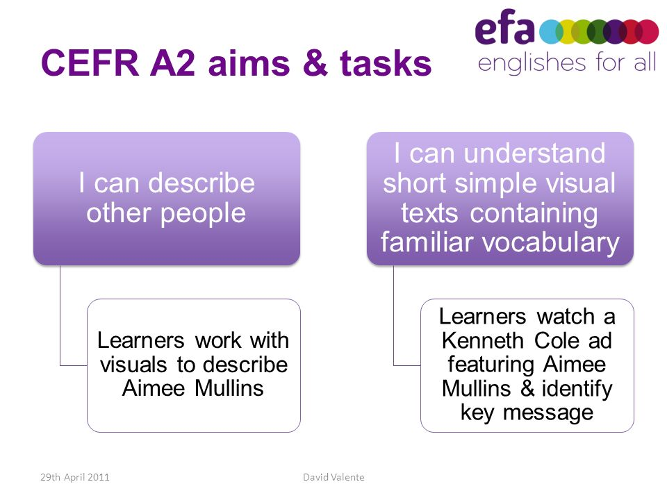 CEFR A2 aims & tasks I can describe other people. Learners work with visuals to describe Aimee Mullins.