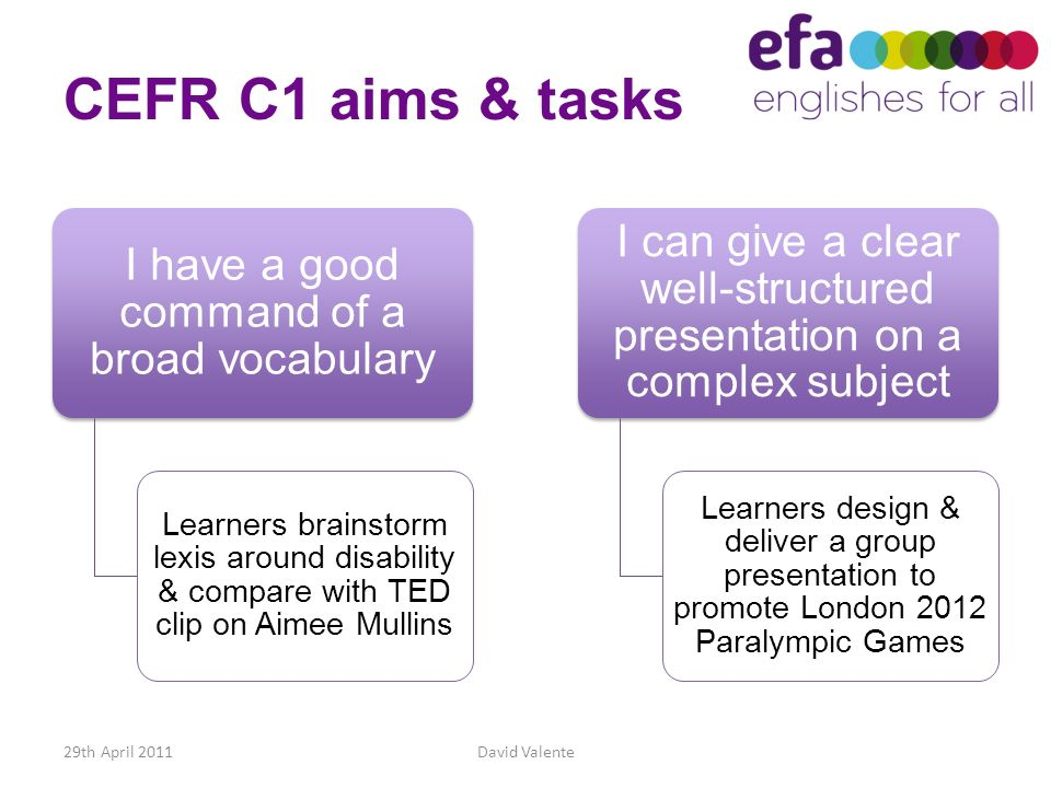 CEFR C1 aims & tasks I have a good command of a broad vocabulary.