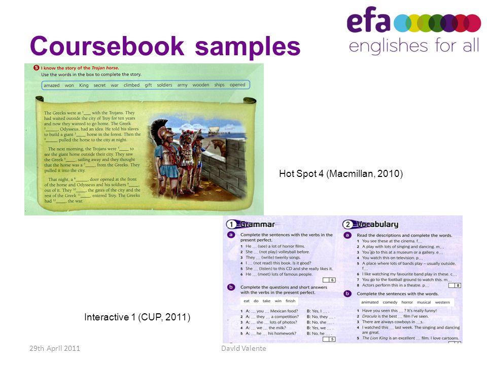 Coursebook samples Hot Spot 4 (Macmillan, 2010)