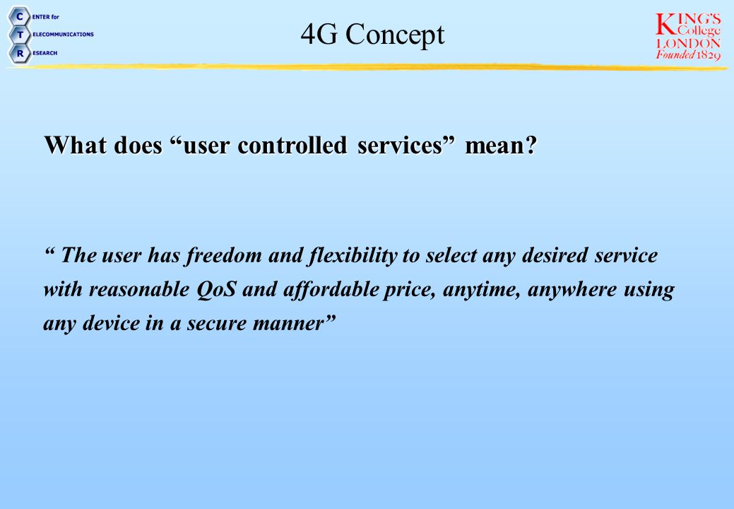 What does user controlled services mean