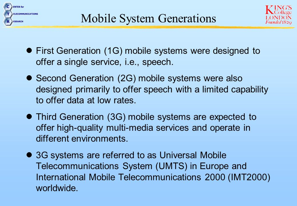 Mobile System Generations