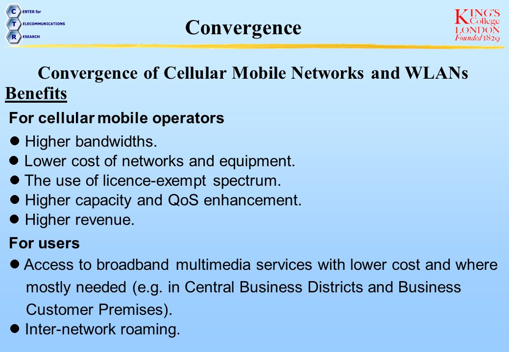 Convergence of Cellular Mobile Networks and WLANs