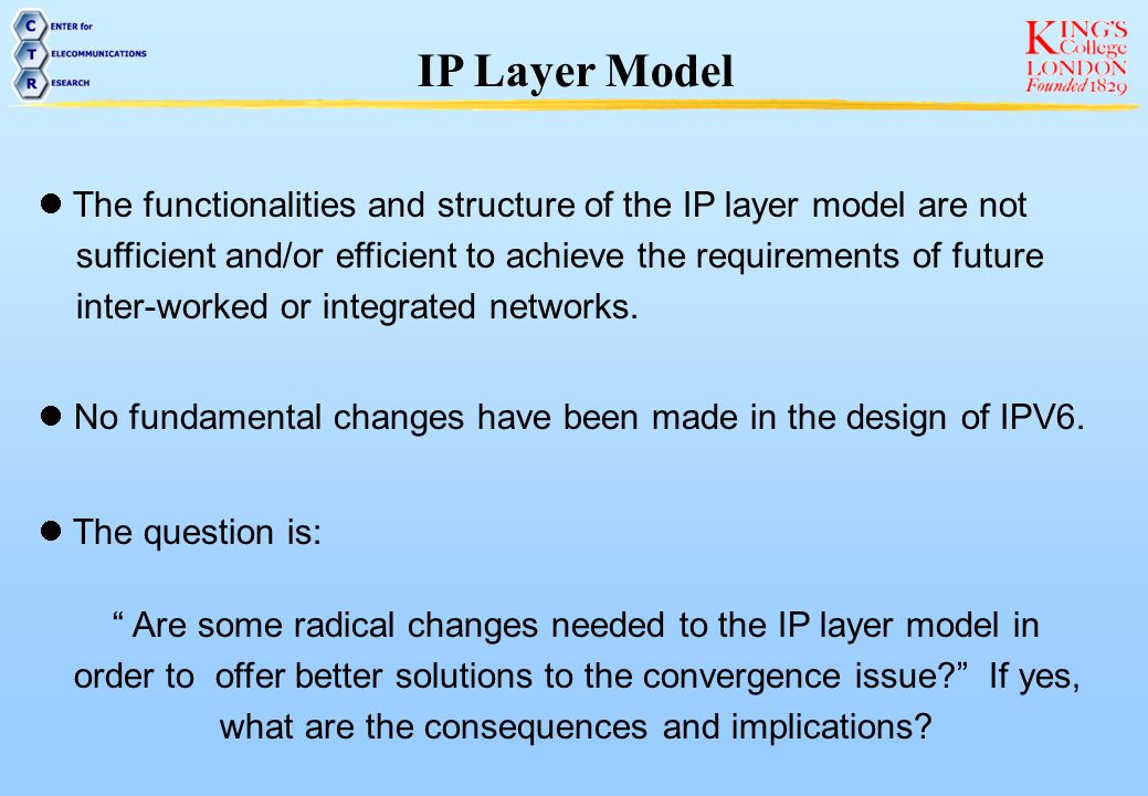 IP Layer Model The functionalities and structure of the IP layer model are not. sufficient and/or efficient to achieve the requirements of future.
