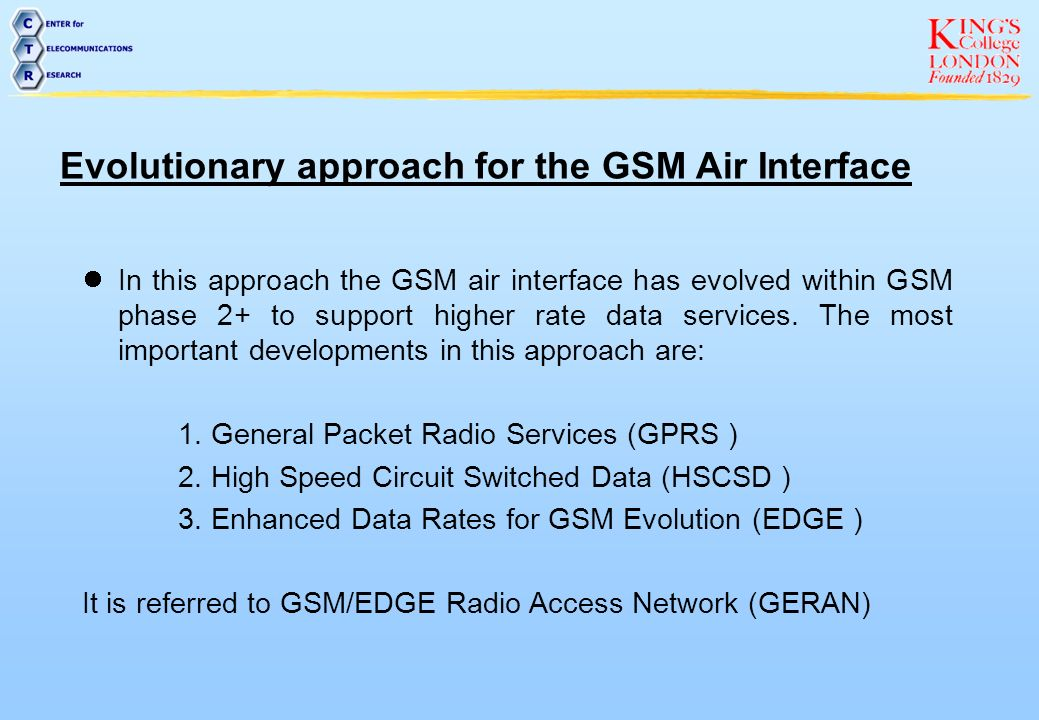 Evolutionary approach for the GSM Air Interface