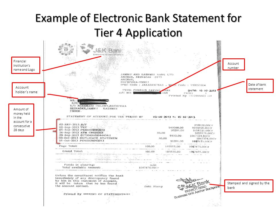 Tier 4 visa maintenance requirements ppt video online download example of electronic bank statement for tier 4 application yelopaper Gallery