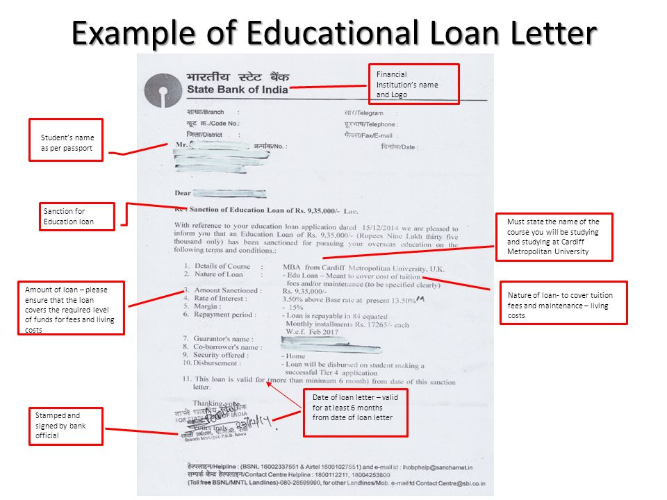 loan sanction letters
