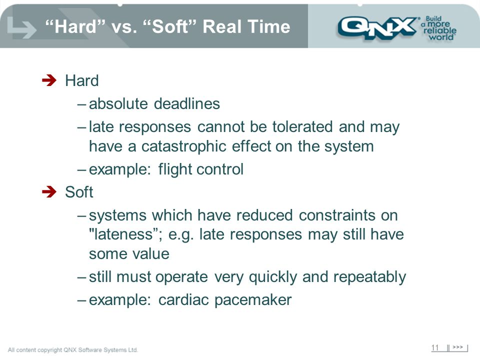 Hard vs. Soft Real Time