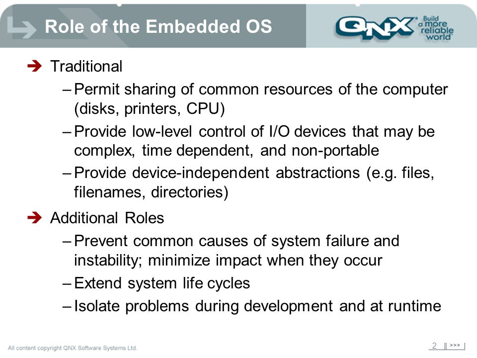 Role of the Embedded OS Traditional