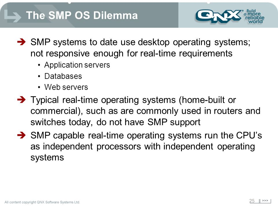The SMP OS Dilemma SMP systems to date use desktop operating systems; not responsive enough for real-time requirements.