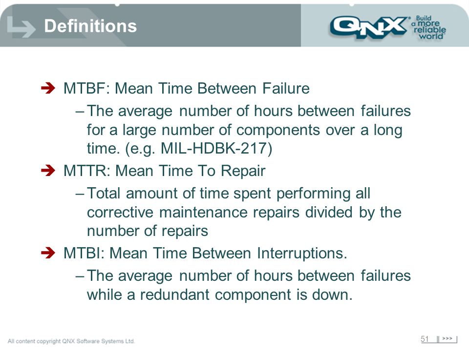 Definitions MTBF: Mean Time Between Failure