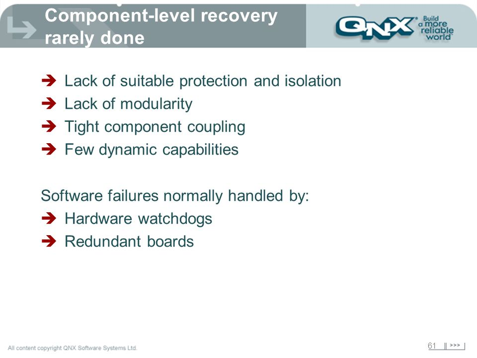 Component-level recovery rarely done