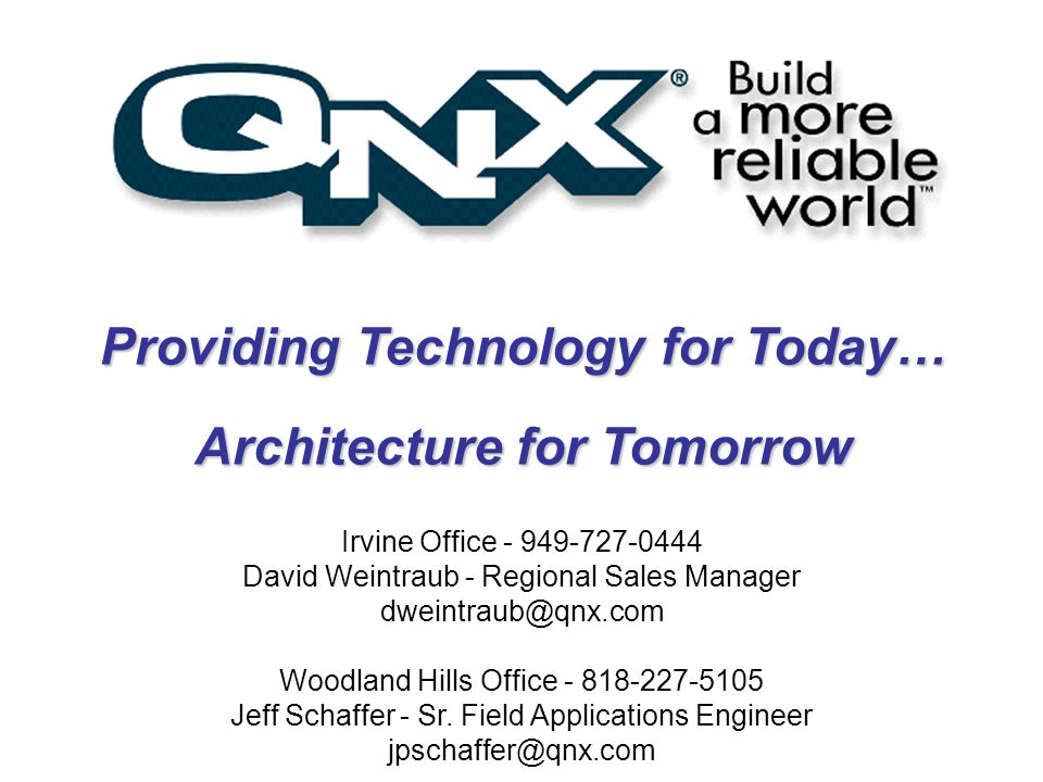 Providing Technology for Today… Architecture for Tomorrow