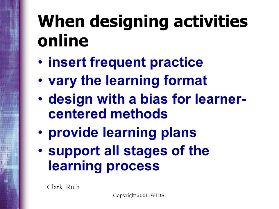 When designing activities online