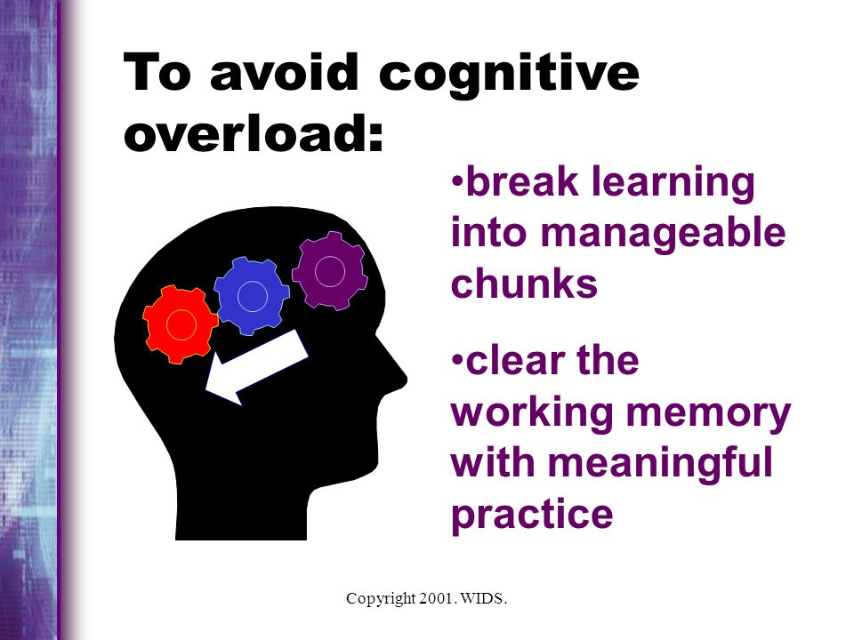 To avoid cognitive overload: