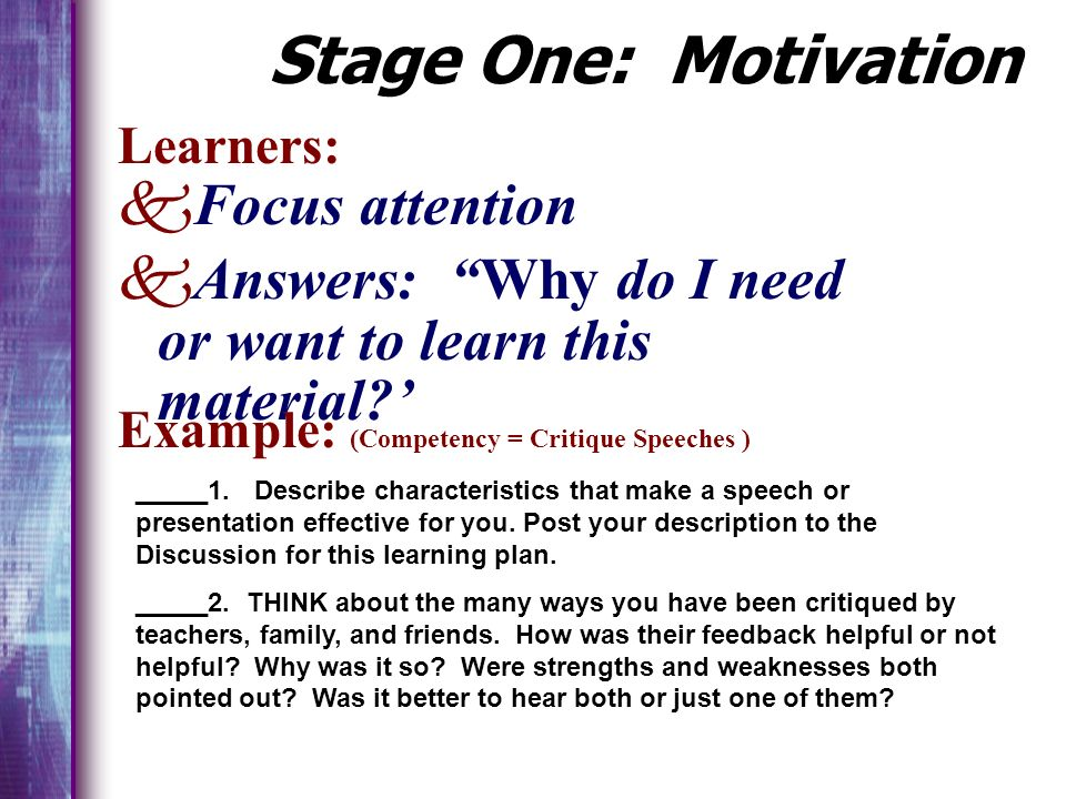 Stage One: Motivation Focus attention