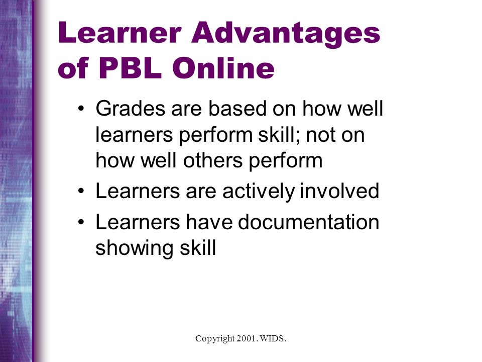 Learner Advantages of PBL Online