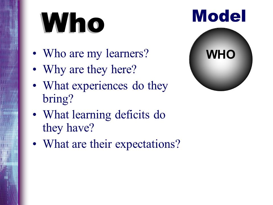Who Model Who are my learners Why are they here