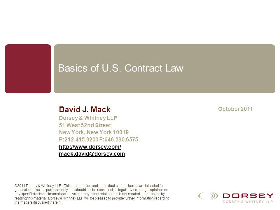 Basics of U.S. Contract Law