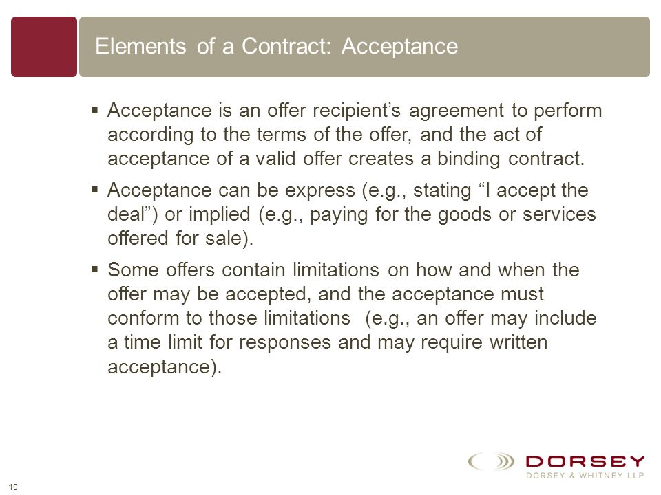 Elements of a Contract: Acceptance