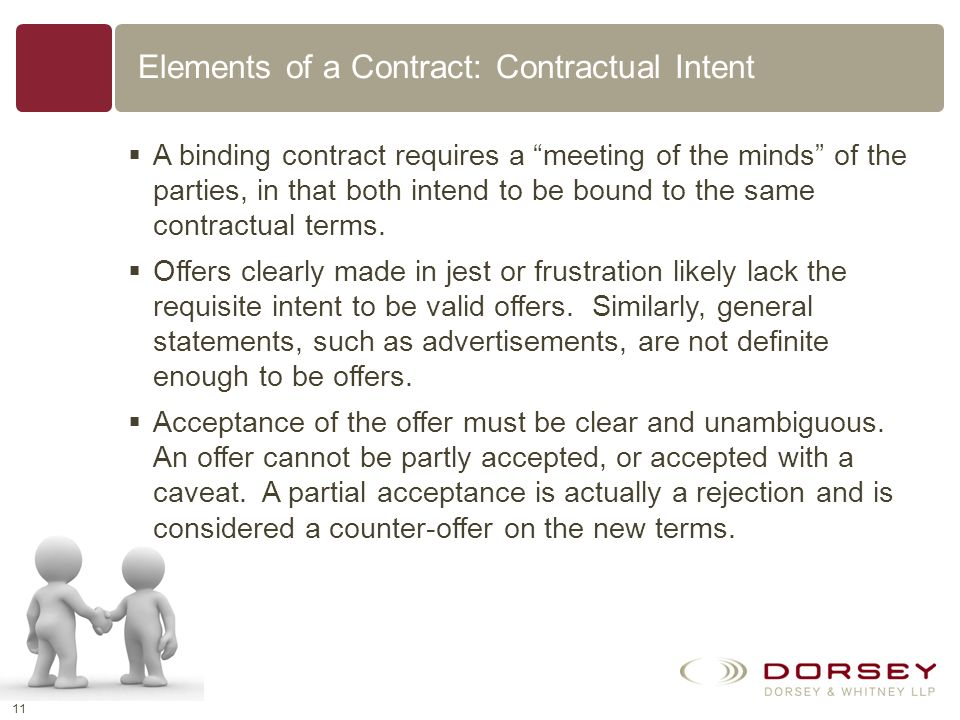 Elements of a Contract: Contractual Intent