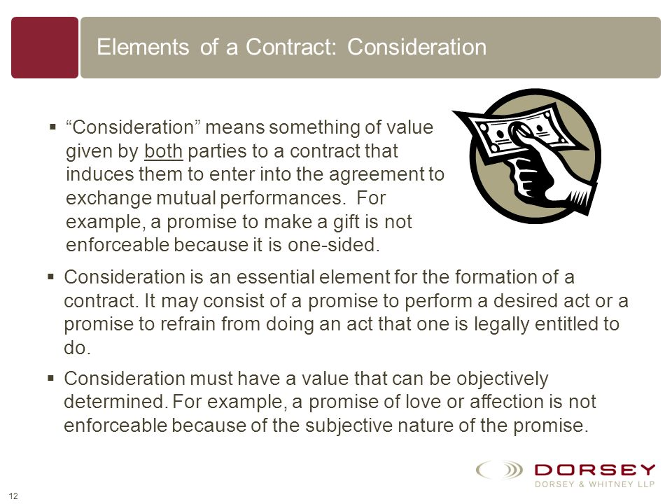 Elements of a Contract: Consideration