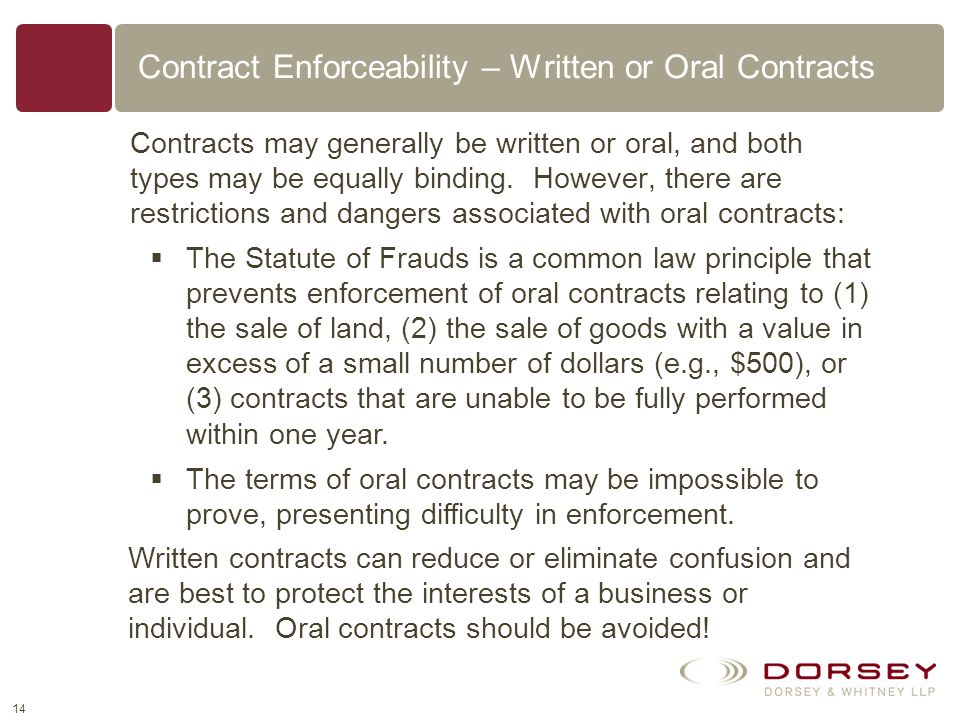 Contract Enforceability – Written or Oral Contracts