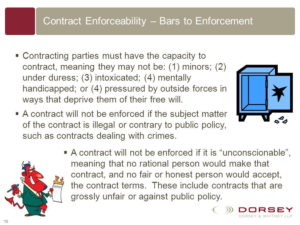 Contract Enforceability – Bars to Enforcement