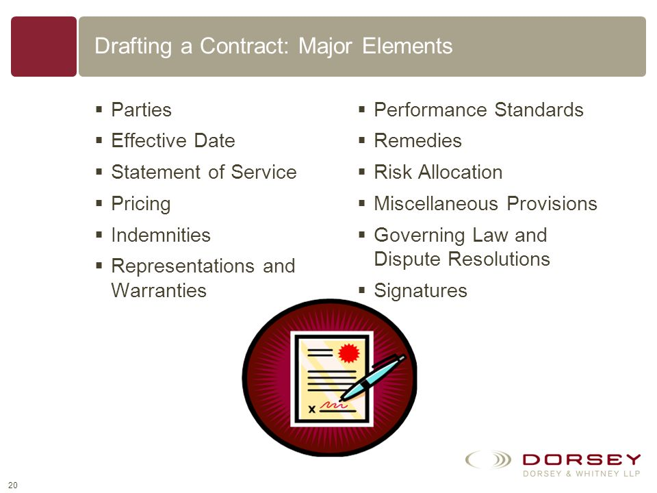Drafting a Contract: Major Elements