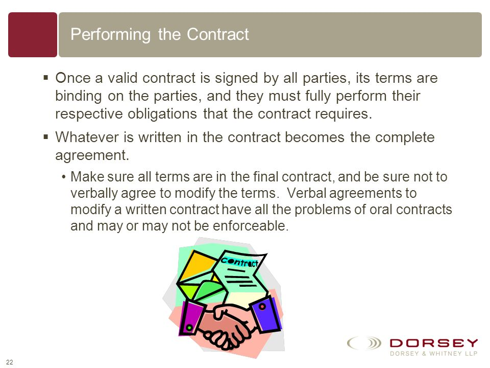 Performing the Contract