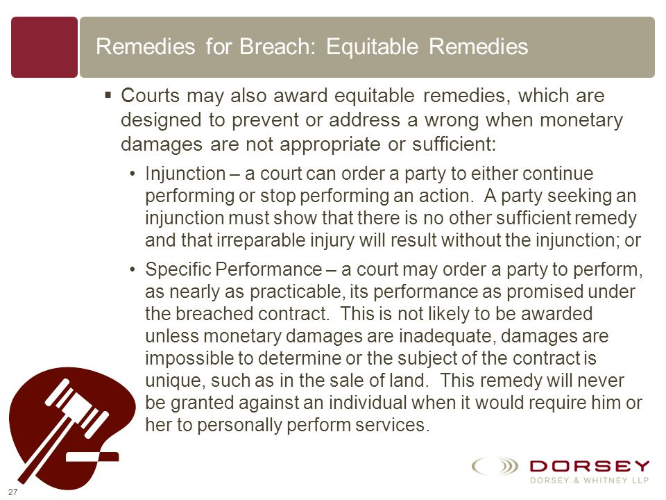 Remedies for Breach: Equitable Remedies